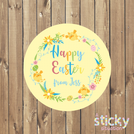 Personalised Easter Stickers - Wreath Design